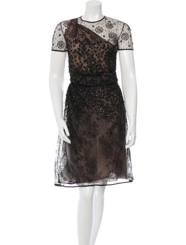 Valentino Embellished Mesh Dress None