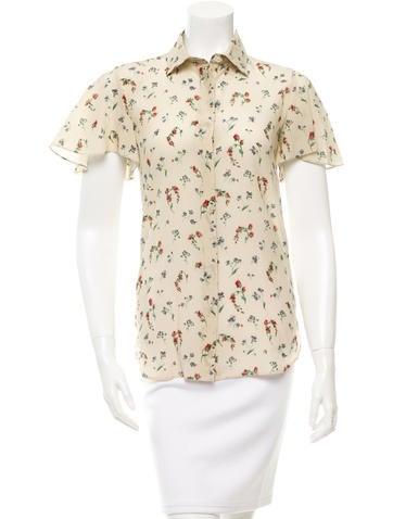 Valentino Floral Print Silk Top w/ Tags None