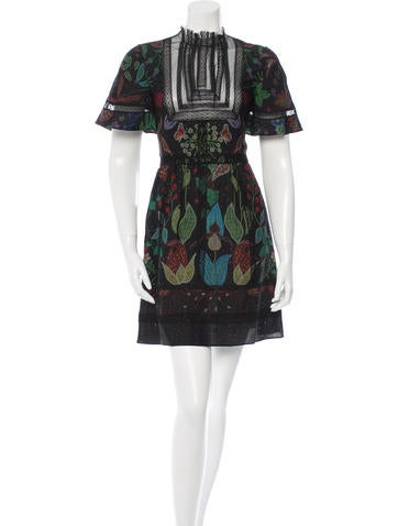 Valentino Lace-Trimmed Silk Dress w/ Tags None