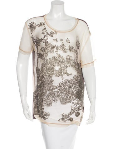 Valentino Beaded Mesh Top None