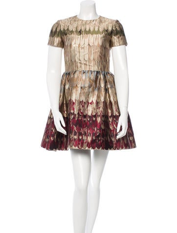 Valentino Printed Metallic Dress w/ Tags
