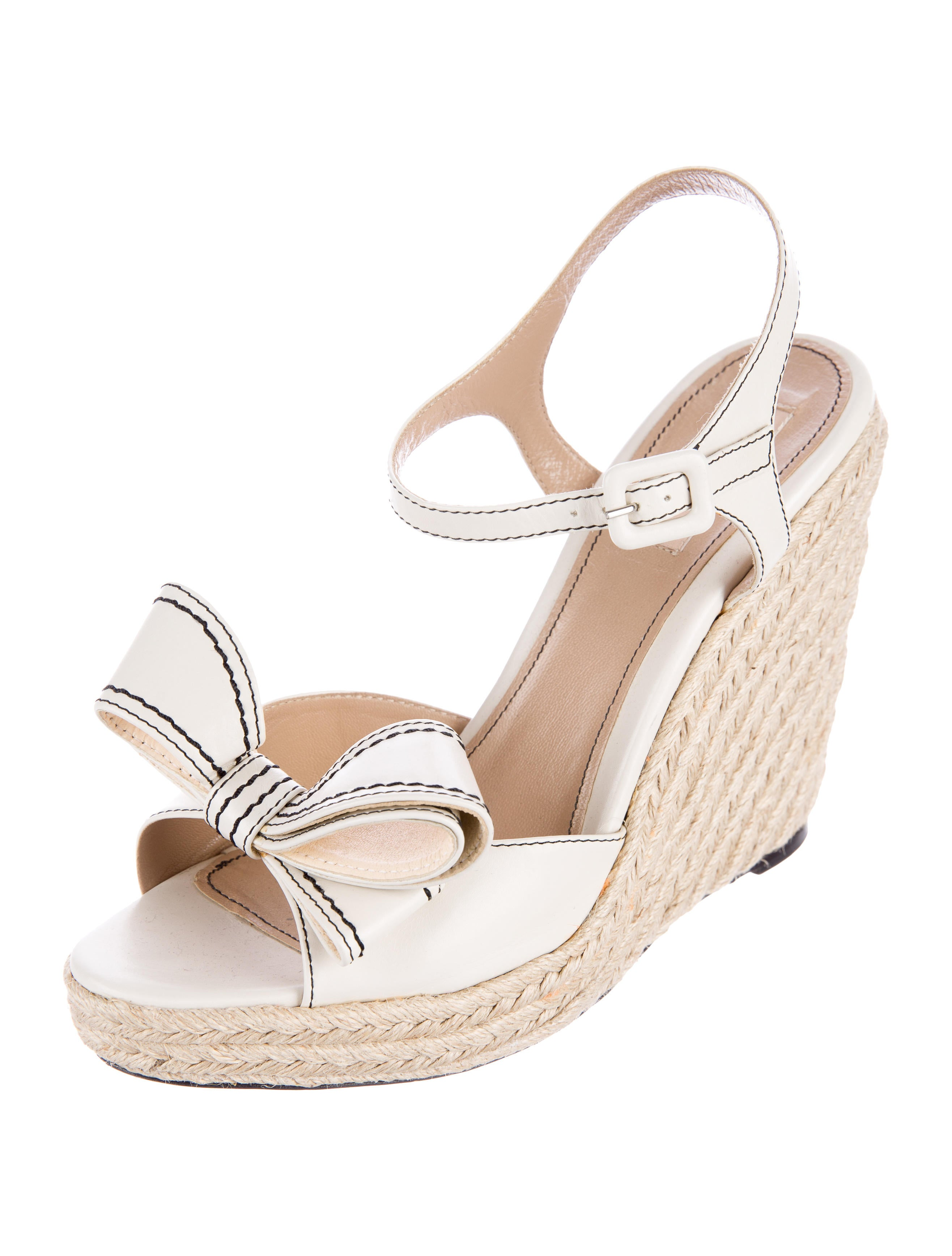 valentino bow embellished espadrille wedge sandals shoes