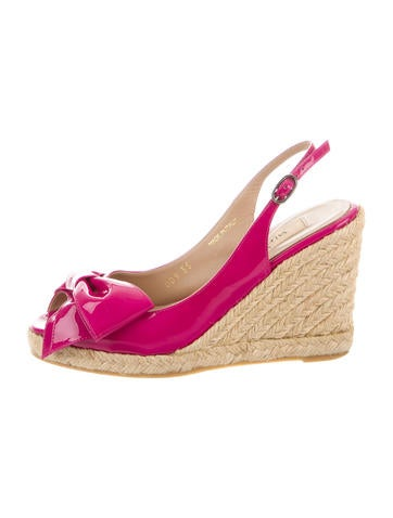 Valentino Patent Leather Espadrille Wedges None