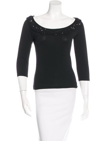 Valentino Embellished Rib Knit Sweater None