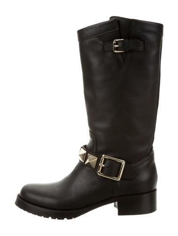 Valentino Leather Rockstud Boots