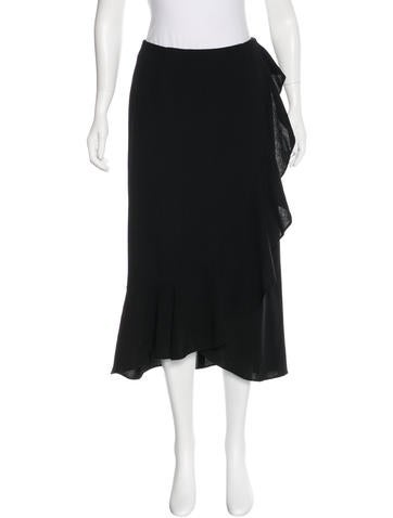 Valentino Virgin Wool Ruffle-Trimmed Skirt None
