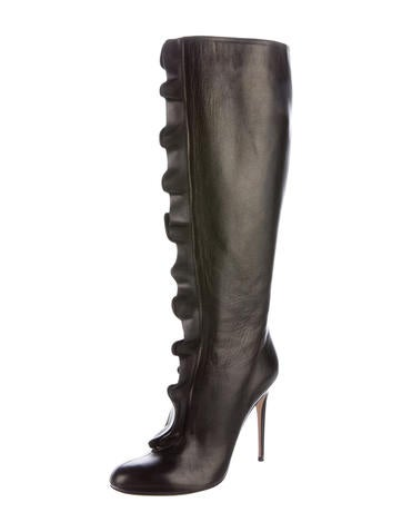 Leather Ruffle Boots