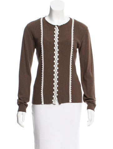 Valentino Embroidered Knit Cardigan None