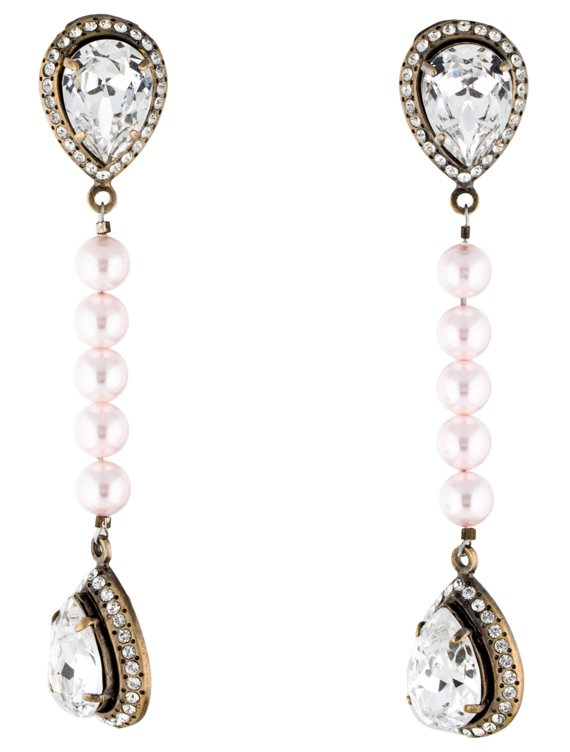 valentino pearl crystal clip on drop earrings earrings. Black Bedroom Furniture Sets. Home Design Ideas