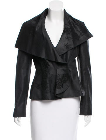 Valentino Lace Overlay Virgin Wool Jacket None