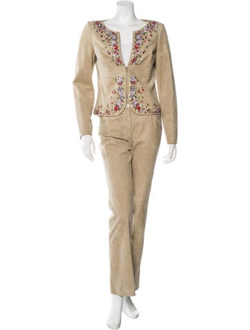 Valentino Suede Beaded Pantsuit None