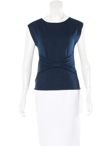 Valentino Bow-Accented Sleeveless Top None