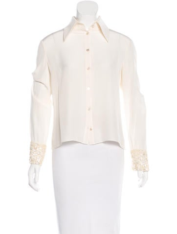 Valentino Embellished Button-Up Top None