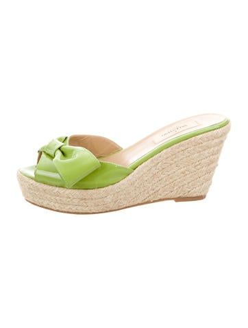Valentino Bow-Accented Wedge Sandals None