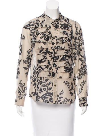Valentino Printed Button-Up Top None