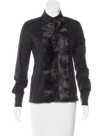 Valentino Ruffle-Trimmed Button-Up Top None