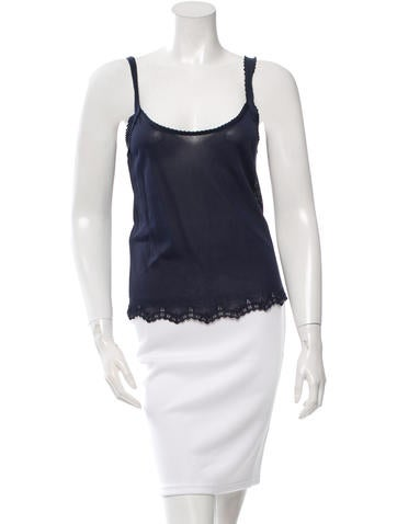 Valentino Sleeveless Lace-Trimmed Top None