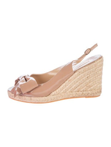 Valentino Patent Bow Espadrille Wedges None