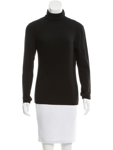 Valentino Pleated Wool Turtleneck Top None