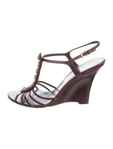 Valentino Embellished Wedge Sandals None