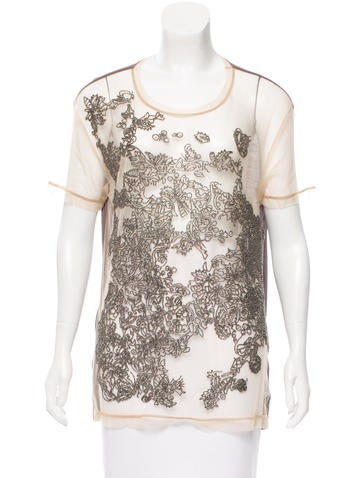 Valentino Embellished Short Sleeve Top w/ Tags