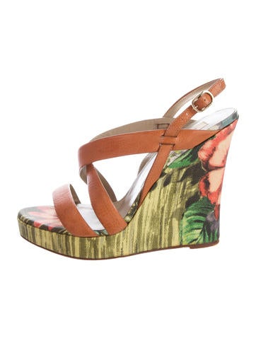 Valentino Leather Wedge Sandals None