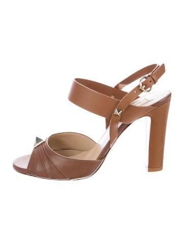 Valentino Rockstud Leather Sandals None