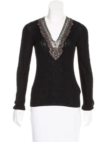 Valentino Wool Embellished Sweater None