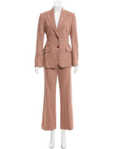 Valentino Wool-Blend Herringbone Pantsuit None