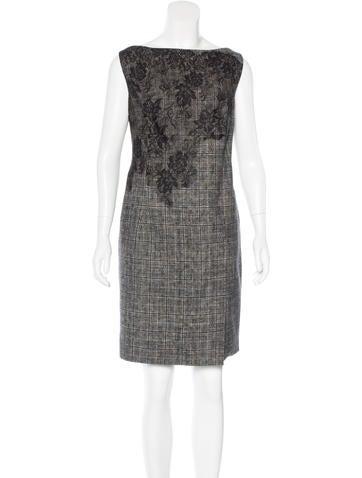 Valentino Virgin Wool Plaid Dress None