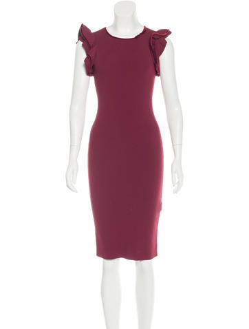 Valentino Velvet-Trimmed Bodycon Dress None