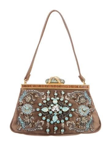 Bead-Embellished Satin Handle Bag