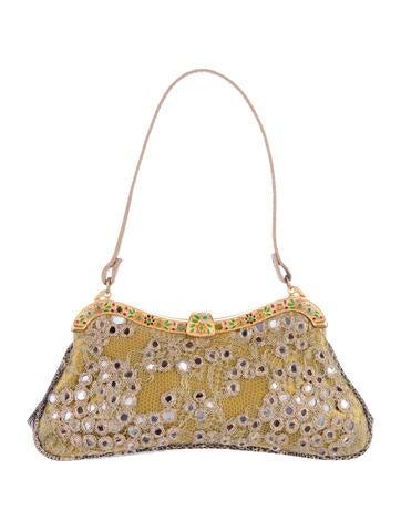 Valentino Lizard-Trimmed Embellished Evening Bag None