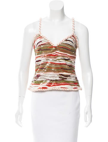 Valentino Sequin-Embellished Sleeveless Top None