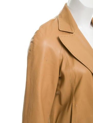 Leather Knee-Length Coat