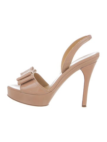 Valentino Patent Leather Platform Sandals None