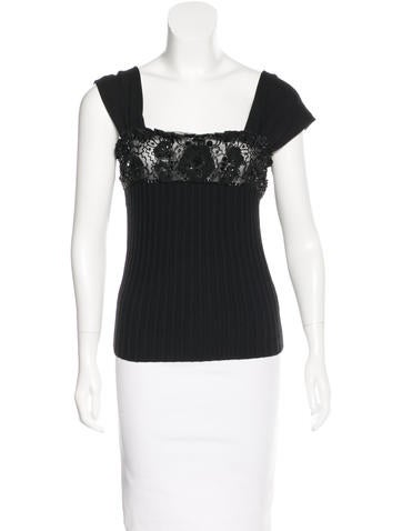 Valentino Embellished Rib-Knit Top w/ Tags None