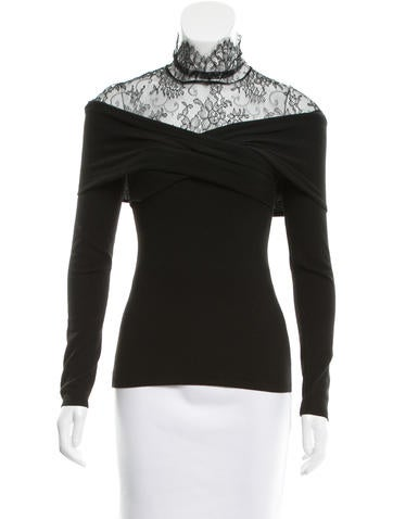 Valentino Lace-Accented Wool Top w/ Tags None
