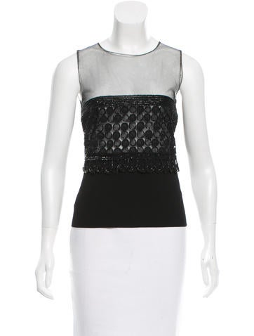 Valentino Mesh-Accented Embellished Top w/ Tags None