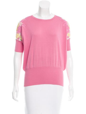 Valentino Lace-Accented Silk-Blend Top None