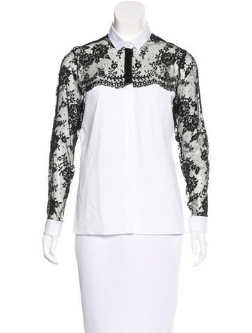 Valentino Lace-Trimmed Button-Up Top None