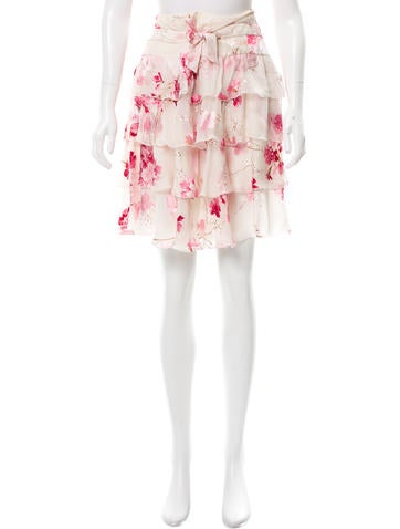 Valentino Floral Print Tiered Skirt