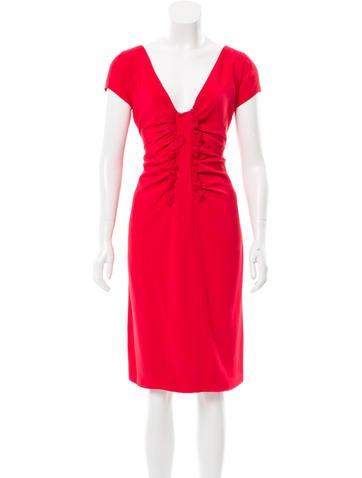 Valentino Ruffle-Accented Sheath Dress None