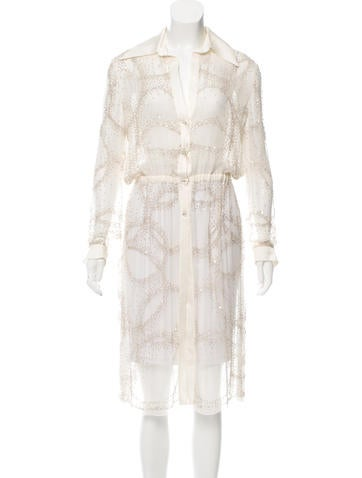 Valentino Sheer Beaded Tunic None