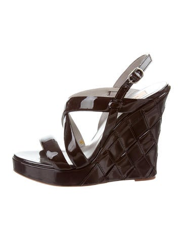 Valentino Patent Crossover Wedges None