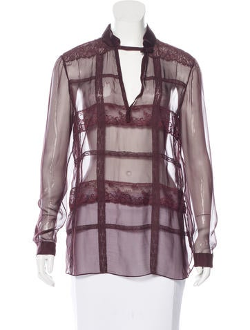 Valentino Silk Sheer Blouse None