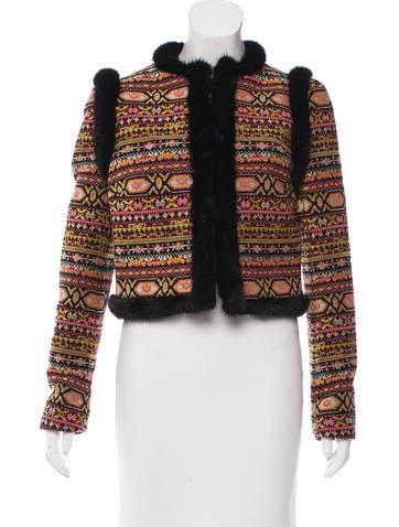 Valentino Mink-Trimmed Tapestry Jacket