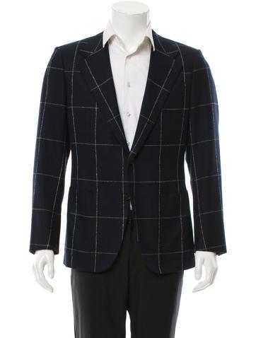Valentino Virgin Wool Windowpane Sport Coat None