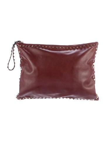 Valentino Rockstud Leather Wristlet None