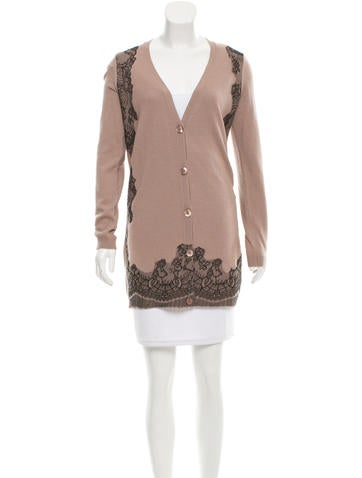 Valentino Lace-Trimmed Wool Cardigan None